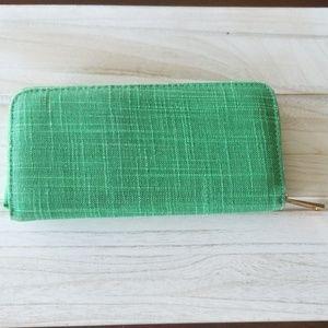 Green fabric zip around clutch wallet